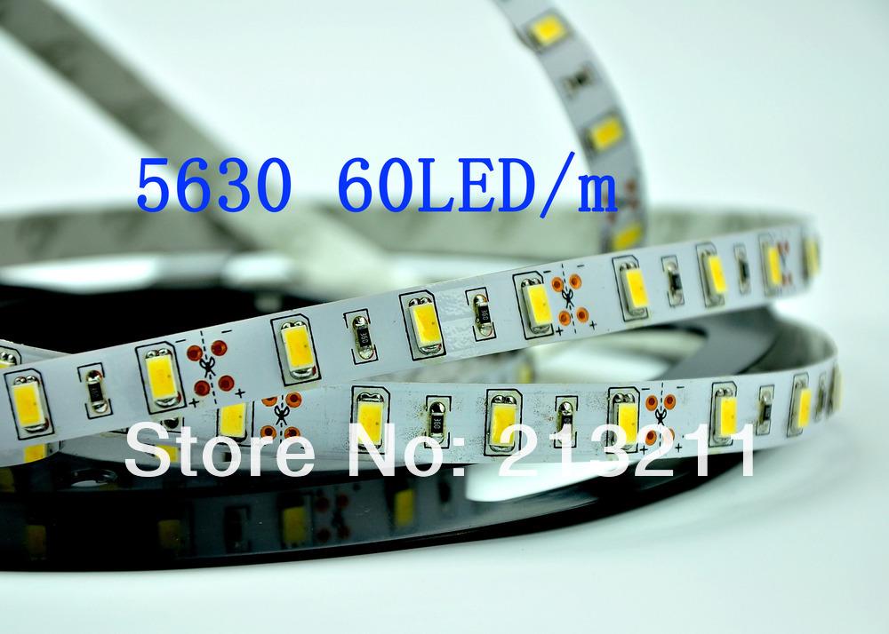 5M LED Strip SMD 5630 High Power IP20 LED Light Flexible Tape Lighting warm white NO Waterproof Free Shipping ip20(China (Mainland))