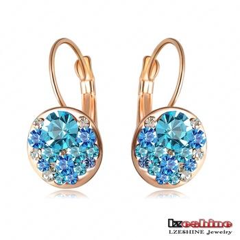 Round Earrings Stud 18K Розовый Золото Plated With Austrian Crystals Женщины Earrings ...