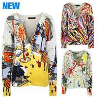 2014 Autumn New Fashion Women Sweater V-Neck Print Short Knitwear Coat Slim Lady Copine  Thin Wool Cotoon Sweater Jacket