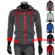 Free Shipping Hot New Autumn & Winter 2014 men's casual sport fleece hooded jackets,Fashion Men's Slim Fit Hoodies Sweatshirt(China (Mainland))