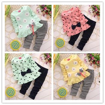 Осень весна девушки детей одежда с длинными рукавами установлен в форме сердца цветок Bowknowt симпатичные 2 шт. одежда дети Twinset футболка + брюки леггинсы