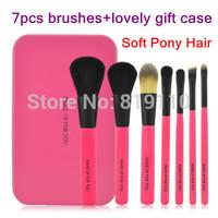 Brand Animal Hair Makeup Brush Set Tools Cute 7 Pcs Make up brushes with Retail Rose Black metal Gift box  for  women & girl