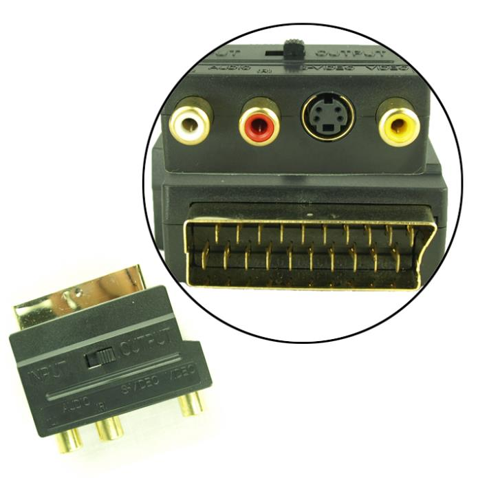5X Gilded Video Male 20 Pin Scart to 3 Female RCA Connector Coupler Adapter UA154(China (Mainland))