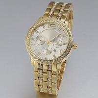 2014 new hot sale famous brand design luxury fashion men women full steel band wrist dress quartz watch with calendar 4432