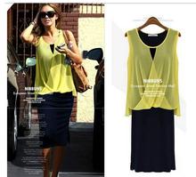 venda quente amarelo chiffon preto moda sexy casual vestidos longos desgaste novo 2014 verão vestido bandage roupas femininas(China (Mainland))