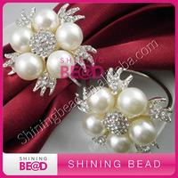 high quality pearl rhinestone napkin ring,free shipping,popular rhinestone pearl napkin ring for wedding table decor