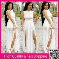 White Maxi Dreess Plus Size XXXL Vestidos 2014 Women Summer Dress Sexy Party Cocktail Long Dresses High Slipt Bodycon Club Dress