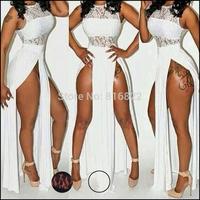 Plus Size 3XL White Black Lace Dress Women Summer Clothing High Split Sexy Party Club Maxi Dresses Long Bodycon Cocktail Dress