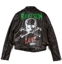 2014 Autumn Fashion man /women black leather Jacket BIGBANG G-Dragon Skull letteri print Oblique zipper motorcycle Jacket(China (Mainland))