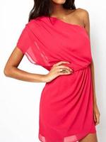 2014 Summer New Women Rose Pink Chiffon Draped Waist One Shoulder Dress Plus Size S M L XL Free Shipping