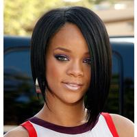 Free shipping by DHL!! 100% Human hair bob wigs for black women,Rihanna 1# 150 density short lace front bob wig