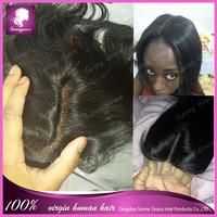 Brazilian Virgin Hair Closure Side Middle Part  Lace Closure Brazilian Hair silky straight  3.5*4 Bleached Knots Top Closure
