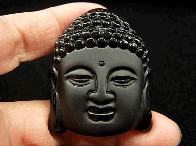Hot Sale Natural Crystal Stone Obsidian Buddha Head Pendant Mean Male Fashion pendant wholesale price + free rope(China (Mainland))