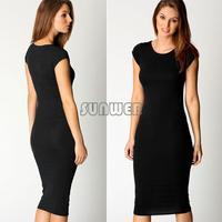 2015 Vestidos New Summer Women Dresses Celeb solid color casual Dresses Cap Sleeve Jersey Ladies Bodycon Midi Dress#10 24