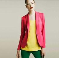 Blazer Women Feminino New 2014 Candy Color Jackets Suit One Button Slim Ladies Blazers Work Wear Blaser Feminino YS8275