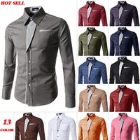 2014 New Dress Fashion Quality Long Sleeve Shirt Men.Korean Slim Design,Formal Casual Male Dress Shirt.13 colors.M-XXXXL.8012