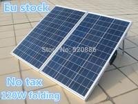Eu stock,no tax, 120W 18V poly folding solar panel  for 12v battery , car, RV,camping,boat,home