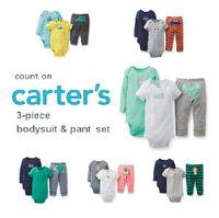 Original Carters Baby Girls Boys clothing set ,conjuntos Clothes Baby Girls Boys 3-piece Bodysuit Pant Set , best ship