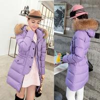 Tops Winter new arrival Korean Slim Women jacket large fur wadded jacket women's  down slim medium-long down coat %