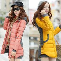 Korean Slim Women jacket Long Sleeve Thicken cotton Hooded Parka Winter Coat Jacket Outwear  Plus Size  XXXL Free Shipping