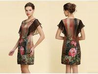 Free shipping Fashion Slim dress big yards Do elegant woman Sensibility Rose printing Mulberry silk dress  163