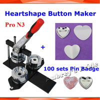 Pro N3 Heart Shape 57x52mm Badge Button Maker Machine with Interchangeable Die Mould +100 Sets Metal Pinback Supply