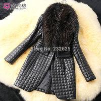 High quality fake raccoon fur collar faux sheep skin leather jacket, women's winter high brand PU leather fur coat free shipping