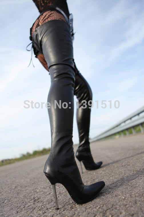 Nova de couro preto fosco PU coxa botas altas das mulheres botas de motociclista 5 polegadas de salto alto homens overknee inverno botas plus size 45(China (Mainland))