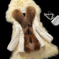2014 winter women's clothing full leather real natural rabbit fur large raccoon fur collar slim outerwear coats luxury overcoat