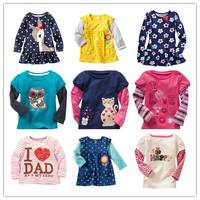 1 PCS / LOT 2014 New 100% Cotton Girls tees Tops Children T-shirt Baby Girl Long sleeve t shirts Cartoon Blouse Rabbit Cute