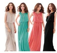 Plus Size Women Clothing 4XL 5XL Womens Maxi Dresses 2014 New Brand Bohemian Chiffon Casual Dress Long Sundresses 10 colors