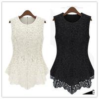 New 2014 size S-5XL Women Peplum Dresses GirlsBig Yards  Asymmetrical White Lace Short Dress Sundresses Vestido De Renda Curton