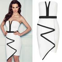 2014 New Vestidos Femininos Off Shoulder Sexy Party Dresses White and Black Patchwork Celeb Bodycon Evening Bandage Dress 9193