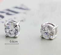 fashion male&female stud earring fashion earrings no pierced four claws magnet zircon shining earring
