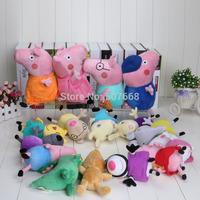 New 16pcs/set Peppa pig Plush Doll Toy Peppa teddy Bear Geroge Dinosaur Peppa pig family peppa pig friends