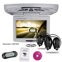 """(In stock) 11.3"""" Car Roof Mounted Monitor DVD Player, headphone+1280*800+Game+DVD USB SD+FM/IR, Flip Down Overhead Ceiling DVD"""