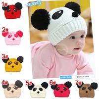 2014 New Winter Baby Cubs Panda Knitted Hat Warm Cute Boys Rongqiu Beanies Wool Hats Crochet Cap Kids Caps