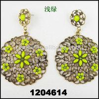 ROUND shape  BIG  CC drop earring hollow design colorful  long dangle earrings for women   Free shipping