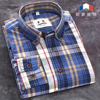 free shipping 2014 autumn men's 100% cotton brand long-sleeve plaid men clothes retro leisure cotton vintage dress shirt men