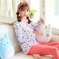 Autumn female sleepwear lounge women's long-sleeve casual modal V-neck sleep set--Free shipping