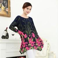 New Fashion Plus Size 20 Color Women Print Flower Pattern Casual Dress Spring Autumn Female Novelty Warm Winter Dresses Hot sale