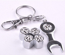 Free Shipping Top quality Blue logo Car Wheel Tire Valve Caps with Mini Wrench & Keychain for VW Volkswagen (4pcs/Pack)(China (Mainland))
