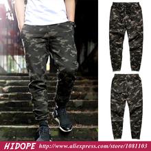 2014 Camouflage Mens Jogger Pants Cuffed Elastic Draw String Twill Casual Hip Hop Camo Pants/Harem Pants Trousers Pantalones(China (Mainland))