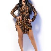 2014 Summer New Women Long Sleeve Leopard Print Dresses Sexy Bodycon Mini Vintage Club Party Dress b8 SV006037