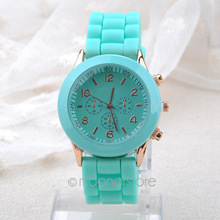 2015 Fashion Classic Unisex Geneva Watch Jelly Gel Silicone Rubber Belt Analog Women Men Quartz Wrist Watches clock FYHM332#Y5