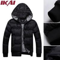 SMK011-4.5 Men Winter Jacket Black Solid Hood Coats Fashion Cotton Padded Coat Thick Casual Jackets