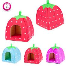 Hot Selling Unique Strawberry Pet Dog Cat Bed Dome Soft Dog House Warm Folding Dog Kennel Washable(China (Mainland))