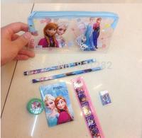 10 Sets FROZEN Stationery Set Pencil case Ruler/Sharpener/Eraser School Supplies Elsa Anna Cartoon Girls Children Kid Favor Gift