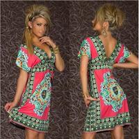 Hot sale 2014 Fashion Retro Vintage Paisley Print V Neck Hippie Boho Summer Dress Women Beach Dress