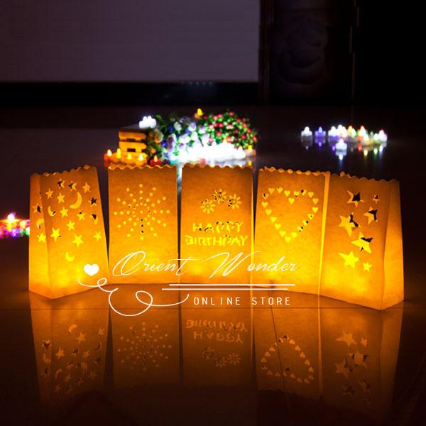 20pcs/lot,illuminating Candle bag Lantern,Paper Tealight Garden Bags for wedding party decoration(China (Mainland))